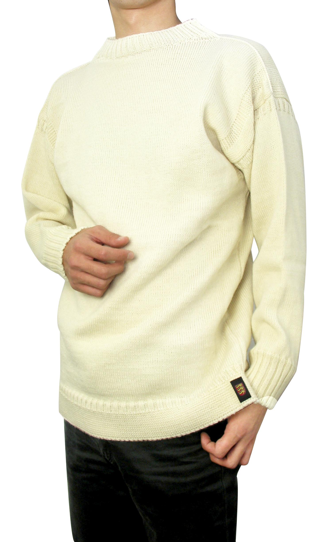 ガーンジーセーター(ブリテン島製)アイボリーM